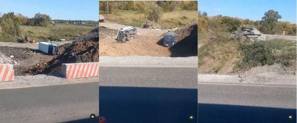 Под Александрией одновременно два микроавтобуса слетели с моста